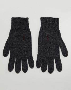 AllSaints Темно-серые перчатки с добавлением овечьей шерсти Fen. Цвет: серый
