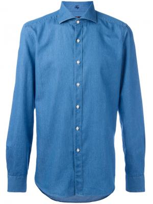 Джинсовая рубашка узкого кроя Fay. Цвет: синий
