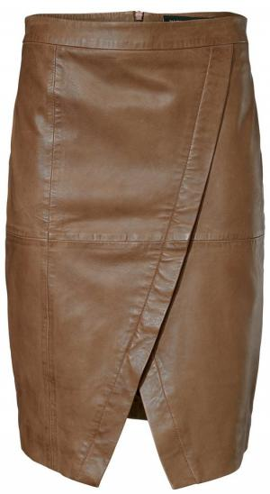 Кожаная юбка Otto. Цвет: коричневый