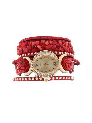 Браслет-часы Olere. Цвет: бордовый, золотистый