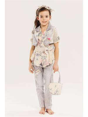 Комплект детский: Джинсы, пиджак, топ, ремень, ободок, сумочка Baby Steen. Цвет: светло-серый, бежевый, розовый