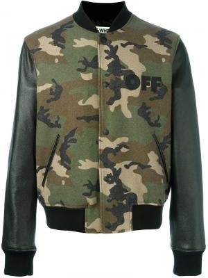 Камуфляжная куртка-бомбер Off-White. Цвет: зелёный