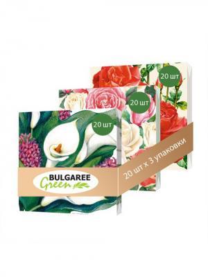 Набор Букет для Любимой из 3 упаковок трехслойных салфеток с ярким принтом, 3х20шт Bulgaree Green. Цвет: зеленый