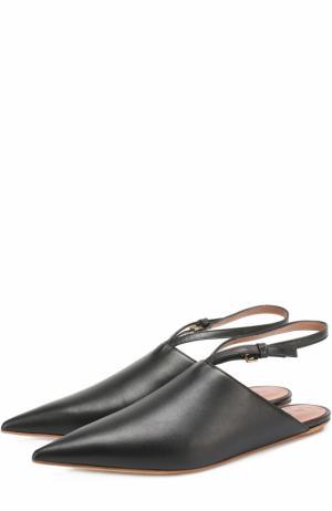 Кожаные сабо с ремешком на щиколотке Marni. Цвет: черный
