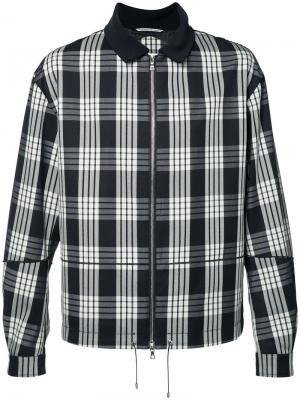 Куртка в клетку на молнии Oamc. Цвет: чёрный
