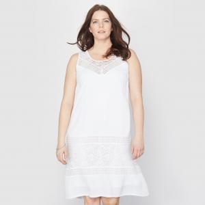 Кружевное платье А-образного покроя TAILLISSIME. Цвет: белый