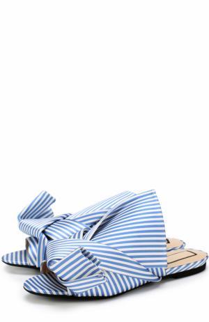Текстильные сабо с бантом No. 21. Цвет: голубой
