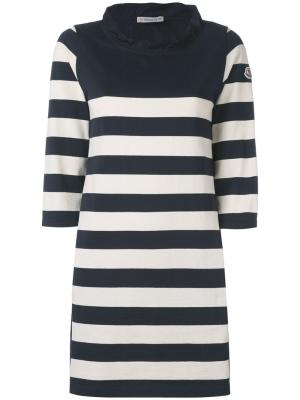 Полосатое платье с завязками на спине Moncler. Цвет: синий