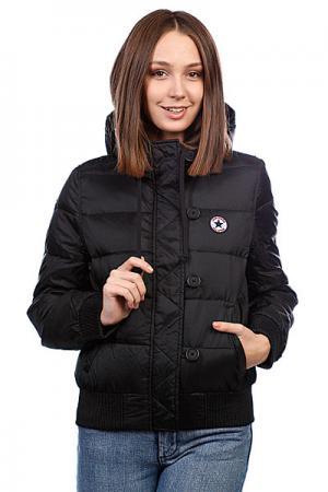 Куртка зимняя женская  Aww Hooded Down Jckt Black Converse. Цвет: черный