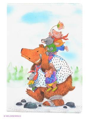 Обложка для паспорта Медведица с медвежатами Mitya Veselkov. Цвет: белый, коричневый, голубой