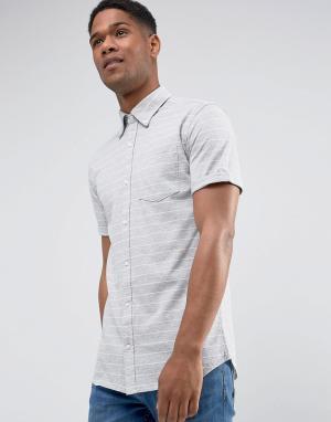 Jack & Jones Облегающая рубашка в полоску с короткими рукавами. Цвет: серый