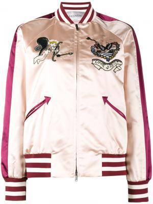 Куртка-бомбер с вышивкой Valentino. Цвет: розовый и фиолетовый