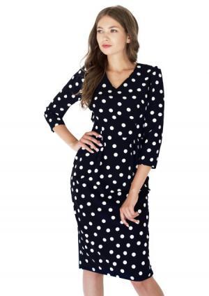 Платье с поясом ANASTASIA KOVALL. Цвет: синий