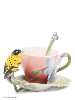 Чайная пара Иволга и Орхидея Pavone. Цвет: зеленый, голубой, красный, желтый