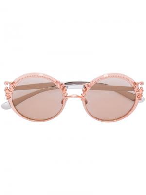 Солнцезащитные очки в круглой оправе Dolce & Gabbana Eyewear. Цвет: жёлтый и оранжевый