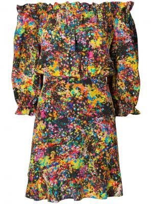 Платье с цветочным рисунком и открытыми плечами Saloni. Цвет: многоцветный