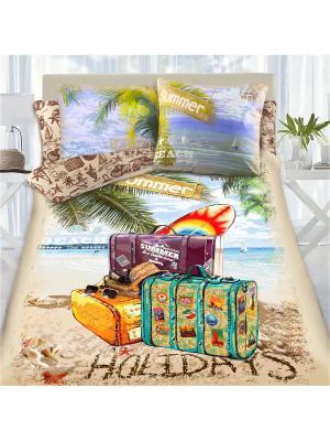 Комплект постельного белья 1,5 сп MONA LIZA&SergLook Voyage Liza. Цвет: бирюзовый, рыжий, светло-зеленый