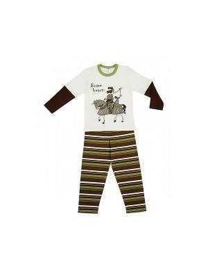 Пижама Модамини. Цвет: коричневый, молочный, зеленый