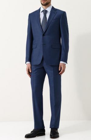 Шерстяной костюм с пиджаком на двух пуговицах Ermenegildo Zegna. Цвет: синий