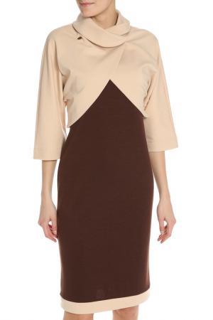 Костюм: жакет, платье Adzhedo. Цвет: бежевый, коричневый