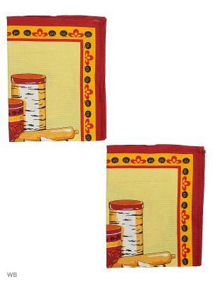 Набор полотенец вафельных кухонных Римейн. Цвет: светло-голубой, желтый