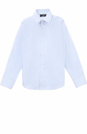 Хлопковая рубашка в мелкую полоску Dal Lago. Цвет: голубой