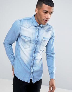 Blend Голубая узкая джинсовая рубашка. Цвет: синий