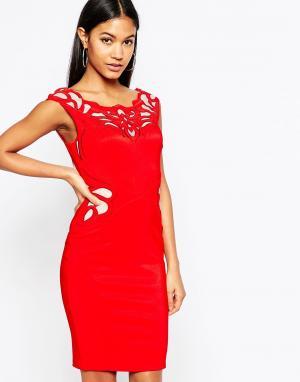 Lipsy Платье-футляр с аппликацией из вощеного кружева. Цвет: красный