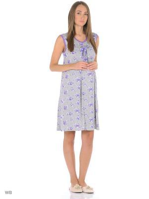 Ночная сорочка для беременных и кормления 40 недель. Цвет: серый, фиолетовый