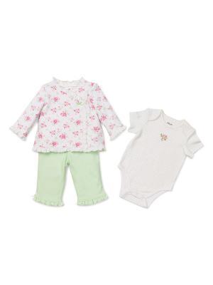 Комплект из 3-х предметов Лужайка Little Me. Цвет: белый, зеленый, розовый