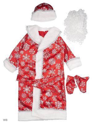 Карнавальный костюм Дед Мороз сатин Батик. Цвет: красный