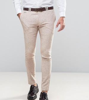 Noak Суперузкие шерстяные брюки в клетку Wedding. Цвет: бежевый