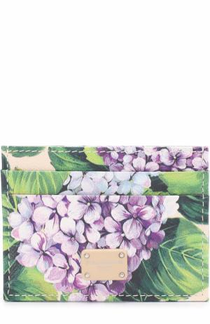 Кожаный футляр для кредитных карт с принтом Dolce & Gabbana. Цвет: кремовый