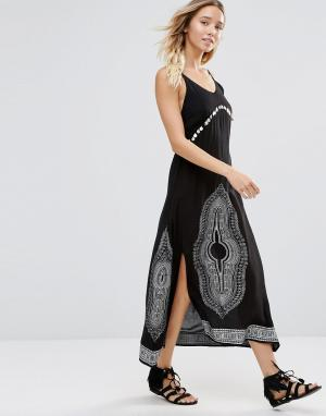 Anmol Пляжное платье макси с отделкой монетками. Цвет: черный