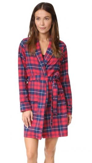 Фланелевый халат Alex Three J NYC. Цвет: красный/темно-синяя клетка