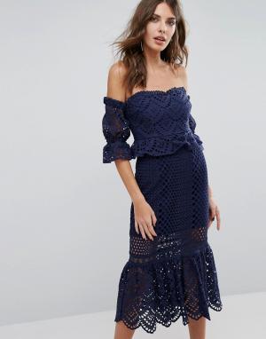 Foxiedox Ажурное платье с открытыми плечами Pure. Цвет: темно-синий