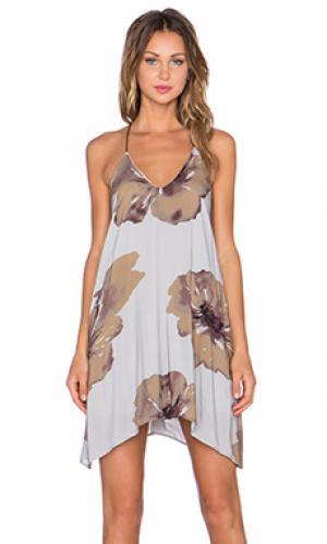 Мини платье big floral The LDRS. Цвет: коричневый