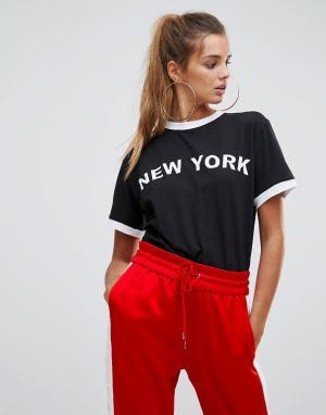 Chorus Футболка с логотипом и принтом New York. Цвет: черный