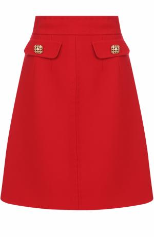 Шерстяная юбка А-силуэта с широким поясом Dolce & Gabbana. Цвет: красный