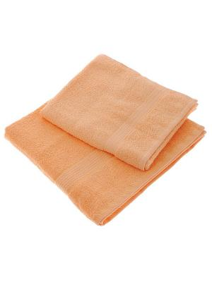 Махровое полотенце персик 70*140-100% хлопок, УзТ-ПМ-114-08-24 Aisha. Цвет: персиковый