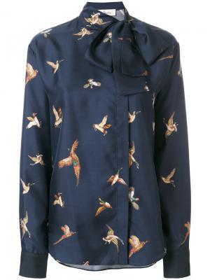 Юбка с принтом птиц Mulberry. Цвет: синий