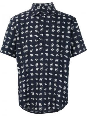 Рубашка с принтом рыб 3X1. Цвет: синий