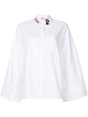 Рубашка с расклешенными рукавами и вышивкой на воротнике Dondup. Цвет: белый