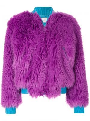 Куртка-бомбер из искусственного меха Alberta Ferretti. Цвет: розовый и фиолетовый