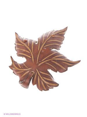 Брошь Осенний лист Мастер ГРиСС. Цвет: коричневый, светло-коричневый