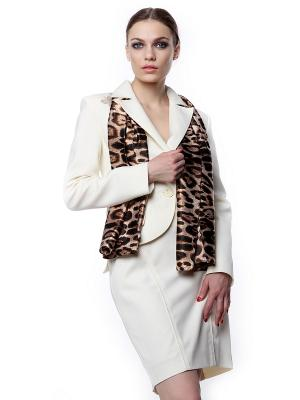 Платок шелк леопард 70х70 SEANNA. Цвет: темно-коричневый, серый, черный