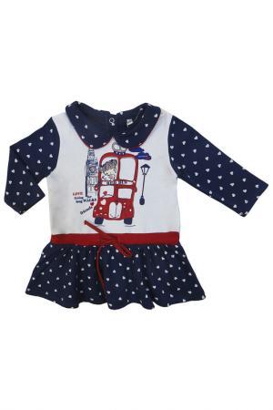 Платье SONI KIDS. Цвет: белый, темно-синий
