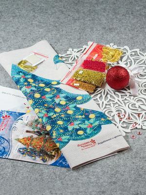 Набор для шитья и вышивания чехол на бутылку Голубая ель Матренин Посад. Цвет: бежевый, морская волна