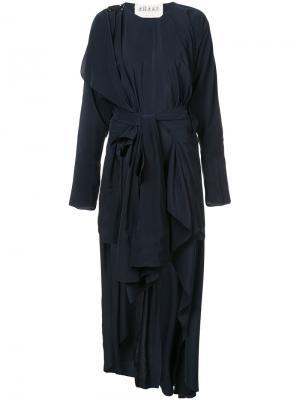 Драпированное платье в стиле кимоно A.W.A.K.E.. Цвет: чёрный