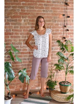 Костюм (футболка,штаны) Весталия. Цвет: светло-бежевый, бежевый